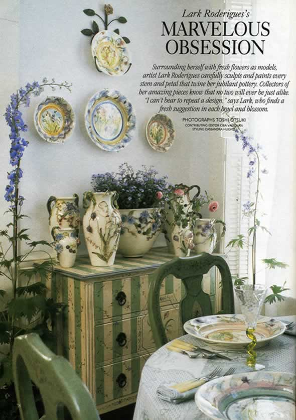 Lark pottery for French country cottage magazine